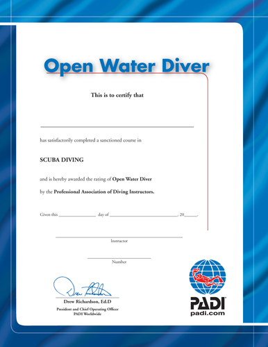 Certificate of Recognition - Open Water Diver